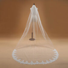New 1T White/Ivory Cathedral Elegant Lace Edge 3M Long Wedding Veil Accessories