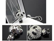 Collar bonito de Oso Panda con cristales acrílicos engastados regalo ideal