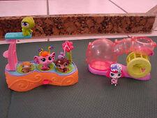 Littlest Pet Shop Swimming Pool diving board, hamster habitat running wheel+pets