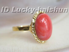 GENUINE NATURE ELLIPSE PINK CORAL RING 14K solid gold 8# j5482
