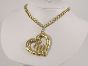 """Jay Z RocaWear 28"""" NECKLACE Double Chain GOLD Plated with VINTAGE HEART Pendant"""