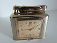 Vintage Colibri Monopol Clock watch Petrol Table Lighter RARE