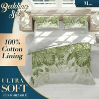 Monstera Green Floral Leaves Quilt Cover Sets with 2x Matching Pillow Shams