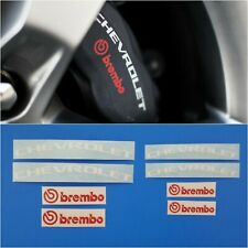 High Temp Chevrolet Combo Decal & Brembo Brake Caliper Stickers 8 Set (WT+ Red)
