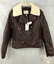 Lucky Brand Womens NEW Vegan Leather Bomber Jacket Burgundy NEW With tags SZ M