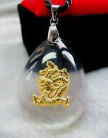 24K Yellow Gold Man-made Crystal New Design Bless Dragon  Pendant