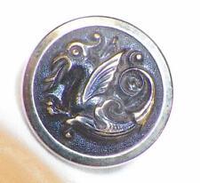 Antique Picture Button Dragon Scrolls Brass Wire Shank 3 Piece #25