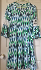 NY Women's Collection Petite Crochet-Trim Bell-Sleeve Dress Green Size PM