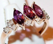 AAA Mozambique Garnet and Diamond 3-stone ring, 1.50ct, 9k Yellow Gold. Size N.