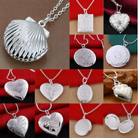 Women 925 Silver Picture Locket Hollow Heart Photo Pendant Chain Necklace Open