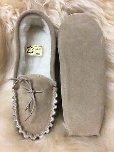 """Mens soft sole suede sheepskin moccasin slipper 6-11 """"made in britain"""""""