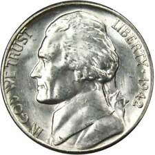 1942 S Jefferson Wartime Nickel BU Uncirculated Mint State 35% Silver 5c US Coin