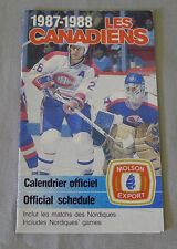 Original NHL  Montreal Canadiens 1987-88 Official Hockey Schedule