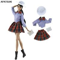Fashion Doll Clothes For Barbie Doll Student Shirt Pleated Skirt Handbag Outfits