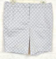 Mario Serrani Womens Shorts Gray White Comfort Stretch Tummy Control Size 6 NWOT