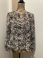 Rebecca Taylor Women's Size 4 Floral Long Sleeve Silk Ruffle Top Blouse