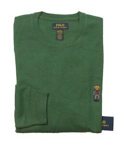Polo Ralph Lauren Men's Green Denim Bear Waffle Knit Thermal Crew-Neck T-Shirt