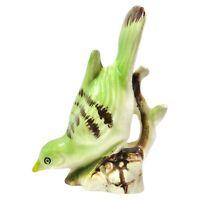 "Vintage Ceramic Green Brown Bird 3.5"" Figurine On Branch Downward Facing Japan"