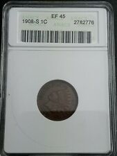 1908-S Indian Head Cent Certified XF-45 by ANACS -  KEY DATE