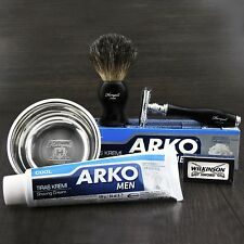 CLASSIC TRADITIONAL DE SAFETY RAZOR, SHAVING BRUSH, CREAM & BOWL SET FOR MEN'S