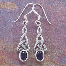 CELTIC IRISH Earrings TRINITY Knot cz amethyst Hook Dangle Sterling Silver 925