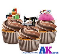 PRECUT Sewing Machine Cotton Pin Cushion 12 Edible Cupcake Toppers Decorations