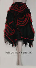 Black Lace Red Net Gothic Bohemian Black Fairy Skirt ~ SALE ~ FREE SIZE 8 - 16