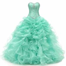 New 2020 Mint Ball Gown Quinceanera Dress Long Prom Dress Size 2 4 6 8 10 12 14+