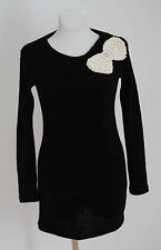 WOMENS RAVI FAMOUS JUMPER SWEATER COTTON WOOL BLACK SIZE M MEDIUM EXCELLENT
