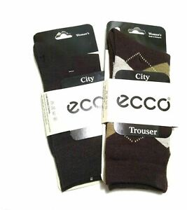 2 Pair ECCO Women's Trouser Socks Mercerized Cotton Brown Argyle Sock Size 9-11