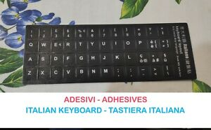 ITALIANA KEYBOARD ADHESIVES ADESIVI TASTIERA Lettere Notebook Pc Black Nero