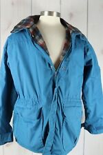 Vintage 1980s Woolrich Jacket Wool Lined Parka Sz M Blue Hooded Blue Tag USA