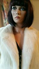 Vintage Genuine Tourmaline Ivory Off-White Stranded Mink Fur Coat Jacket Sz 8-12