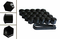 20 x 19mm BLACK Wheel Plastic Nut / Bolt Covers Caps Inc. Removal Tool /22052