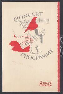 """CUNARD RMS ASCANIA OCTOBER 5 1949 CONCERT PROGRAMME 5"""" X 8"""""""