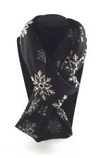 Jersey knit infinity scarf snowflake black white gray flakes fabric loop snood