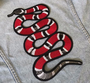 X-Large Iron / Sew On Red Coral Snake  Embroidered Patch Applique Embroidery