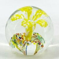 Vintage Hand Blown Art Glass Paperweight Yellow Flower Rainbow Confetti Base