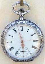 TAVANNES WATCH CO Pocket Watch Swiss Sterling Silver Case Mono LC 1899