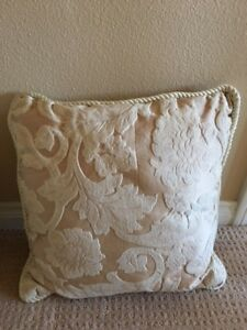 "DECORATIVE PILLOW  TAUPE CREAM PEARL  IVORY COLOR  17"" X 17""  BEAUTIFUL"