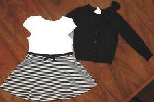 Skirt Set Gymboree 2pc Black Stripe Sweater Cotton Girl size XS 4 New