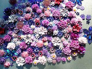 15-110pcs Flowers Cabochon Embellishment Flatback 30% off 22 styles **Free Gift