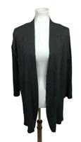 Olivia Warren New York Women's Size M Cardigan Sweater Charcoal Gray Split Side