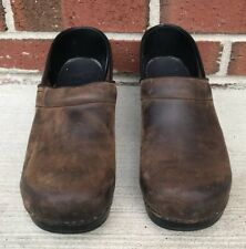 DANSKO Brown Leather Stapled Clogs 41