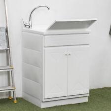 Mobile lavanderia 60x60 cm lavatoio con due ante lavello e asse lavapanni bianco
