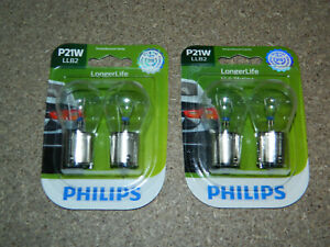 (2) NEW PACKS OF 2 PHILIPS P21W TAIL LIGHT BULBS P21WLLB2 FOG DOME BACKUP TURN