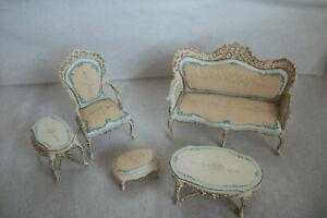 Vintage Artist Made Bespaq 5 Pieces Cream and Blue Dollhouse