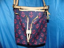 TOMMY HILFIGER BLUE CANVAS ANCHOR CROSSBODY/PULL DRAW STRING- NEW WITHOUT TAGS