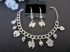 Pomeranian Dog Charm Bracelet & Earrings with Fresh Water Pearls &  Crystals