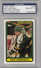 MIKE MODANO SIGNED 1990 TOPPS #348 ROOKIE RC CARD PSA/DNA SLABBED GEM MINT 10